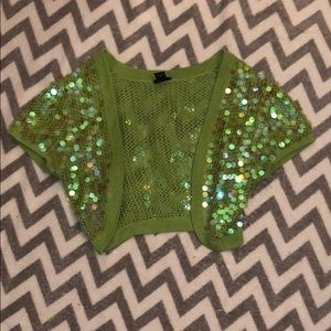 Vintage sequin cropped sweater coverup green Y2K